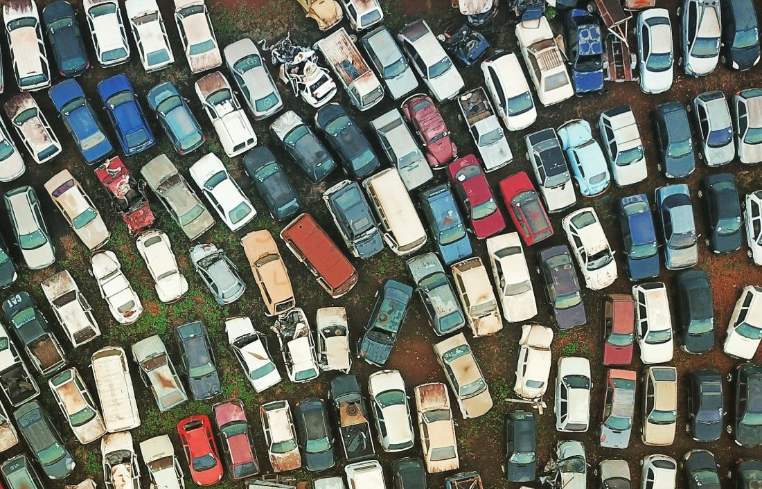 View of car scrappage yard from above