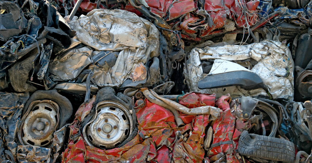 A pile of crushed ELV's