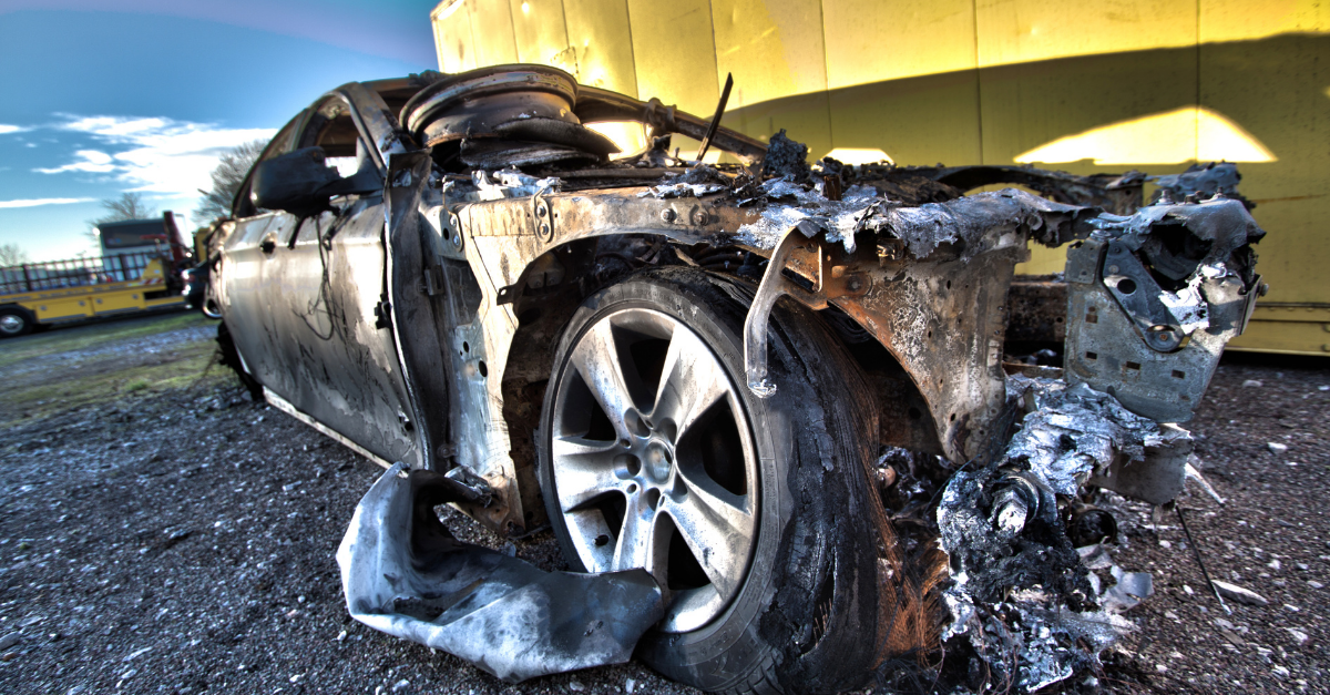 A fire damaged end of life vehicle