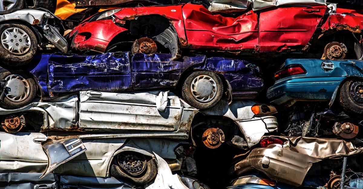 Scrap cars in a pile