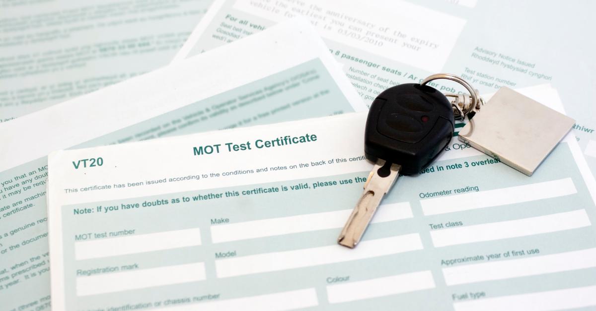MOT certificate and car keys